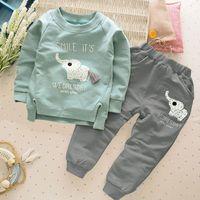 ropa linda del bebé del elefante al por mayor-Nuevo diseño lindo de moda para bebés niñas niños Elefante blusa de manga larga + animales pantalones largos 2 unids / set traje de ropa de bebé