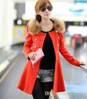 Wholesale Korean Slim Skirt - 2016 New South Korean women slim long coat beautiful female double breasted fur collar wool coat color skirt