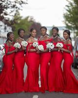 vestido de novia africano negro al por mayor-Sexy Hot Red African Black Girl Vestidos de dama de honor Sirena Sexy Fuera del hombro Sin mangas Hasta el suelo Satin Plus Size Dresses for Wedding