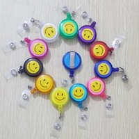 Wholesale Smiling Face Retractable Pull Key ID Card Clip ID Badge Lanyard Name Tag Card Holder Recoil Reel For School Office Company
