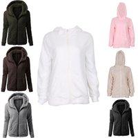 Wholesale Teddy Coat Women - Wholesale- Fashion Womens Ladies Long Sleeved Soft Teddy Fleece Hooded Coat Zipper Hoodie