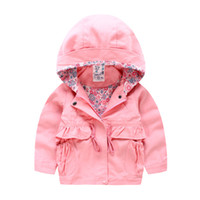 Wholesale Girls Waist Coats - Autumn Girls hooded Jackets hoodies New 2016 Korean style Brand Fashion lining shirt trench coat String waist middle length children trench