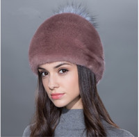 Wholesale High Quality Mink Hats - LUCKYFUR Women fur hat for winter natural whole plate mink fur with silver Pompom beanies high quality fashional hats