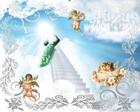 Wholesale peacock wall paint for sale - Group buy 3d ceiling murals wallpaper custom photo non woven mural d wall murals wallpaper for walls d Lovely angel peacock ladder painting