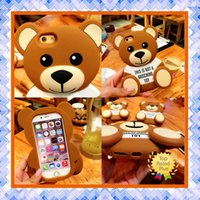Wholesale Teddy Bear Handbags - New 3D Cute Cartoon Teddy Bear Soft Silicone Phone Case Back Cover Shells For iPhone 5 5s 6 6s Plus