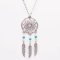 Gros-gros! 2016 Bulletin Turquoise Natural Stone Colliers Pendentifs Indian Jewelry plumes creux longs colliers N2097 cadeau