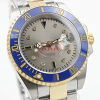 Wholesale Blue Diamond Watch Mens - Top AAA quality luxury brand mens watch automatic Mechanics Stainless steel gray Diamonds dial Sapphire original clasp watch men