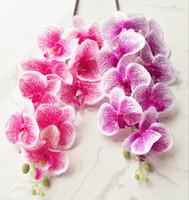 suni ipek kelebek orkide mor toptan satış-Ipek Pembe / Mor Orkide Sahte Phalaenopsis Düğün Centerpieces için Yapay Dekoratif Çiçekler Leopar Kelebek Güve Orkide