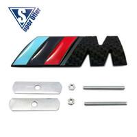 Wholesale Bmw M3 Black Emblem - 3D Metal Sport M power    M Front Hood Grill Badge Emblem stickers screws carbon black for M3 M5 X1 X3 X5 X6 E36 E39 E46 E30 E60 E92