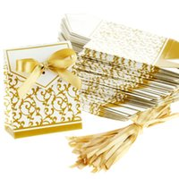 Wholesale Gold Wedding Favour Boxes - Free Shipping 100 Gold Wedding Favour Favor Sweet Cake Gift Candy Boxes Bags Anniversary Party