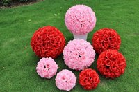 "Wholesale Large Christmas Ball Ornaments - 60 CM 23"" Artificial Encryption Rose Silk Flower Kissing Balls Large Size For Christmas Ornaments Wedding Party Decorations 7 Color"