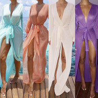 Wholesale Lace Silk Blouses - New Europe and the United States pure color lace cardigan sunscreen beach skirt bikini long sleeve blouse support mixed batch