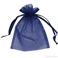 Wholesale Navy Blue Wedding Jewelry - 100 Pcs Navy Blue Organza Drawstring Pouches Candy Jewelry Party Wedding Favor Gift Bags Pouch Bags 7 x 9 Cm  2.8 x 3.6 Inches DIY Gift