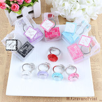 Wholesale diamond ring favors for wedding resale online - Hot Sale Big Diamond Ring Shape Keychain Key Chain Accessories Home Party Favors Wedding Gifts For Guests Wedding Souvenirs ZA1133
