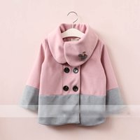 Wholesale Double Breasted Rabbit Coat - Everweekend Girls Rabbit Double-breasted Jacket Cute Baby Pink and Khaki Color Coat Lovely Kids Western Fashion Winter Coat