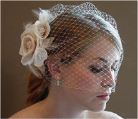 Wholesale Champagne Hair - Wedding Birdcage Veils Champagne Ivory White Flowers Feather Birdcage Veil Bridal Wedding Hair Pieces Bridal Accessories BV03