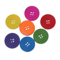"""Wholesale colorful sewing buttons - Mixed Random Round Circle Buttons 2 Holes 20mm(6 8"""") Wooden Buttons Lovely Colorful Buttons For Sewing Crafting Pack Of 100pcs I317L"""