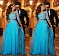 Wholesale Cheap Nude Prom Dresses - Blue Lace Arabic Evening Dresses Scoop Half Sleeves A-line Tulle Prom Dresses Vintage Cheap Formal Evening Gowns