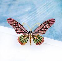 Wholesale Sweater Brooches Korean - Korean new simple fashion big butterfly brooch women rhinestone pins girl's sweater jacket butterfly flower brooch