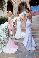 Wholesale backless mermaid style wedding dress resale online - 2017 Country Style Mermaid Bridesmaid Dresses Off Shoulder Lace Applique Backless Long Satin Plus Size Maid Of Honor Wedding Guest Dress