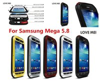 Wholesale Galaxy Mega Waterproof - LOVE MEI For Samsung Galaxy Mega 5.8 i9150 Original Powerful Shockproof Dirtproof Waterproof Metal phone Case with Gorilla glass