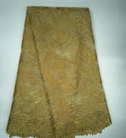 Wholesale Eyelet Bronze - Embroidery African Lace Fabrics Swiss Voile French Tulle Net Guipure Lace Fabric for Wedding Dress Mesh Eyelet With Stones
