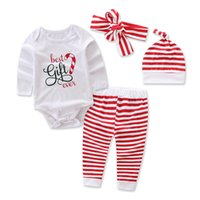 Wholesale baby christmas hats headbands resale online - Christmas Baby Outfits Ins Autumn Romper Long sleeve Letters Best gift ever Striped pant Hat headbands sets Soft cotton