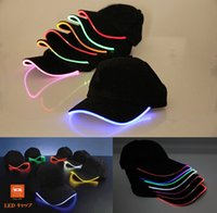 Wholesale Baseball Caps Led Lights - Wholesale Top Fantastic Glow LED Light up BaseBall Hat,Unisex Baseball Cap Hat with Headlamp,Mutil-color LED Lighted Glow party flashing Cap