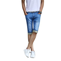 Wholesale M Edge Light - Wholesale-2016 Summer Men Short Jeans Elastic Denim Trousers Men's Shorts Bermuda Jeans Floral Edge Men Jeans Masculina LQ277