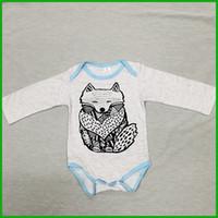 Wholesale Cheap Baby Sleepwear - grey fox baby rompers kids infant bodysuits newborn lovely sleepwear factory cheap price solid grey boys girls rompers free shipping