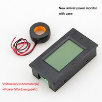 Wholesale Kwh Voltage Meter - Wholesale-1PC AC 100A Power Meter Monitor Voltage current kWh Watt Digital LED Tester with case + CT