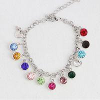 Wholesale Long Cross Bracelet - Fashion Birthstone Charming Charms Bracelets Girl Dress Chain Bracelets Cross Crystal Birthday Bracelets 19cm Long 5cm Extended Chain BR001