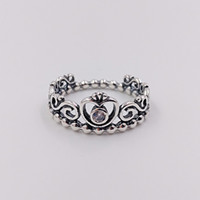 Autentico anello in argento sterling 925 Princess Tiara Ring adatto a gioielli stile europeo Pandora 190880CZ