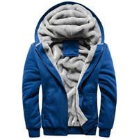 Wholesale Hair Neck Coat Men - Wholesale-2016 New Men's Fleece Hooded Baseball Uniform Plus Hair Thickening Of Men's Sportswear And With velvet Sport Coat SIZE