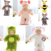 Wholesale Sleeping Baby Shape - Silicone Sleeping Baby Doll Standing Animal Shaped Plush Sleeping Baby Lifelike Eyes Closed Elephant Bee Piggy Plush Silicone Toy
