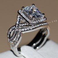 anel de casamento define corte princesa venda por atacado-4ct princesa corte de jóias de luxo venda quente 10KT ouro branco cheio Topaz CZ diamante Diamonique anéis de noivado casamento conjunto para mulheres tamanho 5-11