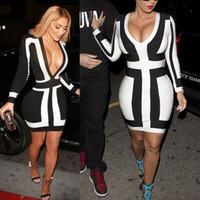 siyah kıyafet elbisesi toptan satış-Bayan Zarif Siyah Beyaz Renk Kontrast Derin V Boyun Düşük Kesim Kılıf Balo Parti Seksi Kulübü Bodycon Ofis Elbise