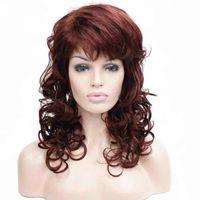 Wholesale dark auburn wavy wig - Women's Medium length Wigs Long Dark Auburn Wig Wavy Oblique Bangs Synthetic Hair full Wig For Women