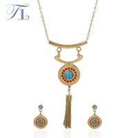 TL Fashion Stainless Steel Bride Wedding Jewelry Set Collares Maxi Vintage Declaração Colar Gold Indian Jewelry Set For Women