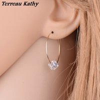 Wholesale Samples For Earrings - Wholesale- Terreau Kathy Sample Style Gold Color Crystal Hoop Earrings For Women Fashion Imitation Pearl Earrings Jewelry