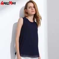 GAREMAY Женская шифоновая блузка летняя без рукавов Camisa Candy Tops Femme Casual Fungus Collar Blusas Cheap Clothes China 0098 q171135