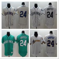 Wholesale Cheap Baseball Uniform - Seattle Mariners #24 Ken Griffey Pull Over Throwback Jersey New Season Mens Baseball Jerseys Discount Cheap Baseball Shirts Brand Uniforms