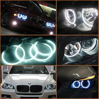 Wholesale Ccfl For Cars - White Car CCFL Halo Rings Angel Eyes LED Headlights for BMW E46(NON projector) Light Kits