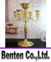 Wholesale Crystal Flower Heads - H75cm * W48cm Gold   Silver 5 Heads Crystal Candelabra Candle Holder Wedding Centerpiece Flower Bowl Candle Holder With Pendants LLFA8881