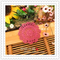 Wholesale Wholesale Colored Dishes - 10cm round 30 pcs 2016 zakka home fashion cotton crochet lace mat by colored natural cotton handmade doilies for hot dish cup as novelty mat