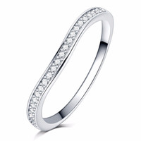 Wholesale 18k gold alliance - Full Clear AAAA zircon stone pave silver color wave Ring engagement Cocktail wedding alliance for women girls