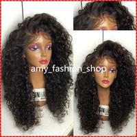 peruklar dantel peruklar toptan satış-Brezilyalı İnsan Saç Tam Dantel Peruk Bakire Saç Derin Dalga Tutkalsız Siyah Kadınlar Için tam Dantel Peruk Dantel Ön Peruk Ile Bebek saç