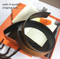 Wholesale Genuine Leather Bag For Mens - Real leather H buckle Mens Belt With Original Box Card Dust bag Brand High Quality Designer Belts For Men Women business belts free shipping