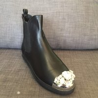 Wholesale Black Diamond Ankle Boots - actual shoes~u498 40 black genuine leather diamond cap toel short boots m brand designer luxury runway rhinestone stylish