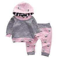 bebeğim kız pembe set toptan satış-Pembe Yenidoğan Bebek Kız Giysileri Sevimli Gülümseme Bulut Bebes Kapşonlu Üst Pantolon 2 adet Sonbahar Kış Takım Çocuk Giyim Seti